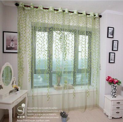 Beauty Room Leaf Pattern Woven Voile Window Curtain Sheer Panel Drapes Scarf E7C