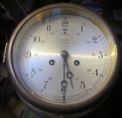 antique brass Salem Ships Bell Ship's Clock Silent Chime key wind military time