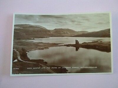 Loch Assynt & The Ruins of Ardvreck Castle Vintage Scottish Postcard