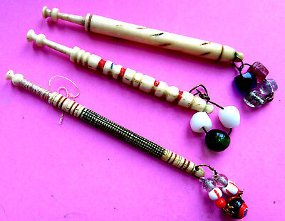 Antique 3 Early 19Th C  Decorated Cow Bone Lace Bobbins