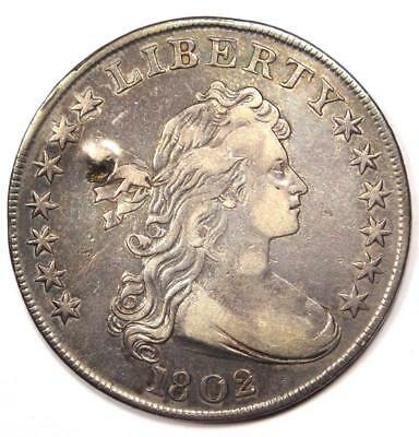 1802 Draped Bust Silver Dollar $1 - XF Details (EF) - Rare Type Coin!