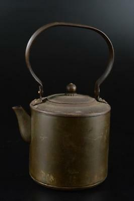 G1214: Japanese Old COPPER BOTTLE Teapot Dobin, auto Tea Ceremony