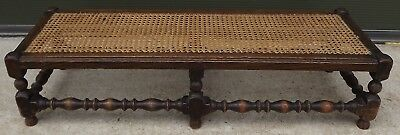 Vintage 1930s Long Oak Footstool Stool with Canework Top in the Antique Style