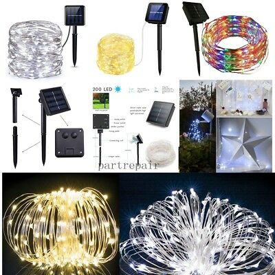 Outdoor Solar Powered 50 100 LED Copper Wire Light String Xmas 5M / 10M US Ship