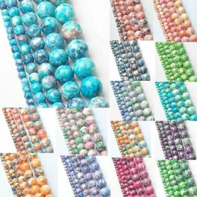 Round 4 6 8 10 12mm Colorful Natural Rain Stone Wholesale Spacer Loose Beads NEW