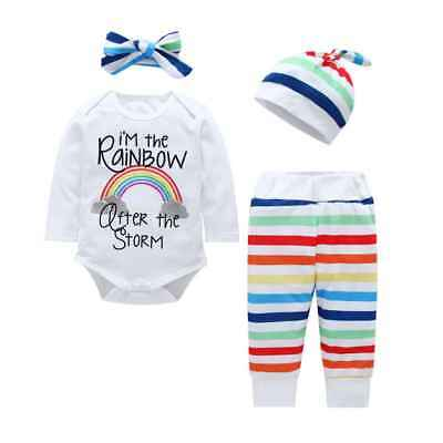 4Pcs Newborn Baby Girls Outfits Rainbow Clothes Romper Tops Long Pants Set