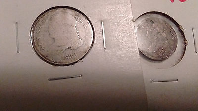 silver capped bust 1833 dime worn 1833 half dime holed, scratched