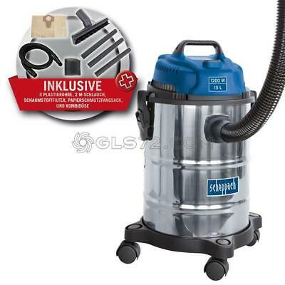 240V Wet And Dry Vacuum Cleaner Stainless Steel 15L 1200W Scheppach Asp15-Es
