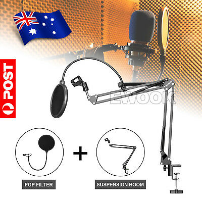Microphone Suspension Boom Arm Desktop Stand Mic Holder Mount Bonus Pop Filter