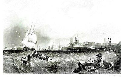 """Portsmouth Harbour"" Engraving by R. Brandard after Clarkson Stanfield, R.A."