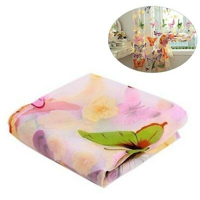 Flower Butterfly Voile Net Curtain Sheer Window Door Divider Panel Screens E7C