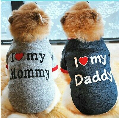Cartoon Small Dog Clothes Pet Puppy Cute Vest Dog Cat Apparel Love Mom Daddy
