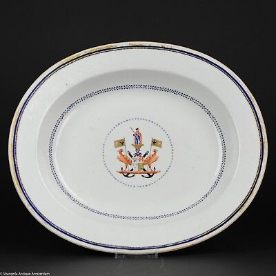Antique 18C Qianlong/Jiaqing Chinese Porcelain Armorial Charger Habsburg Navy