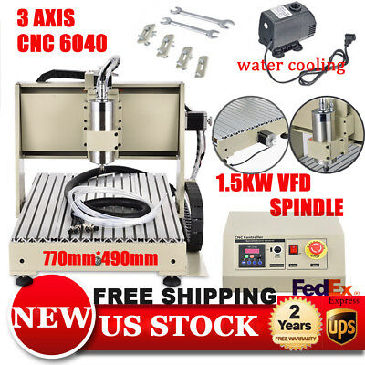 3 Axis 6040 1.5KW VFD CNC ROUTER Engraver Drilling Milling Machine 3D CARVING
