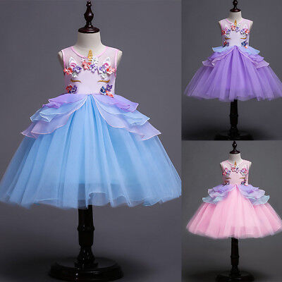 Unicorn Flower Girl Tutu Dress Princess Cosplay Costume for Kids Birthday Party