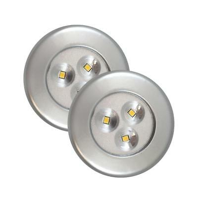 Westek 75221S Battery Operated Lite-N-Up LED Utility Puck Light, Silver, 2-Pk