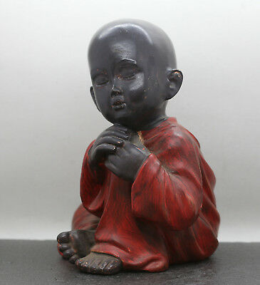 Charming Chinese Young Novice Monk Statue In Resting Position Made Of Composite