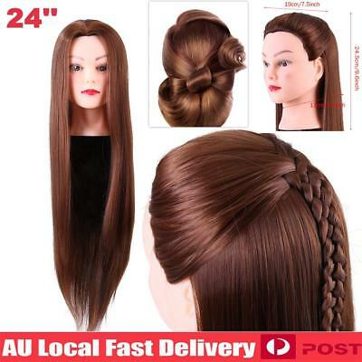 """24"""" 30% Human Hair Practice Hairdressing Training Head Mannequin Doll +Clamp"""