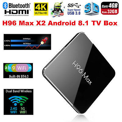 H96 Max X2 Android TV Box 4K Amlogic S905x2 Quad Core 4G+32G WiFi BT Caja de TV