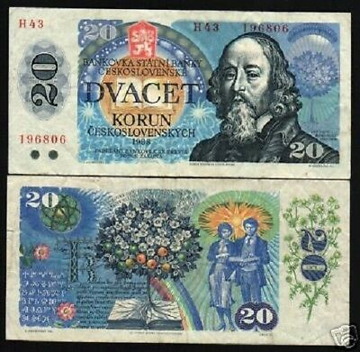 Czechoslovakia 20 Korun P95 1988 Book Flower Used Money Bill Euro Bank Note
