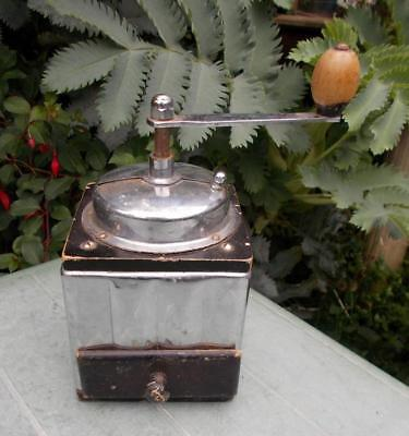 Vintage French Chrome Art Deco Coffee Grinder Mill