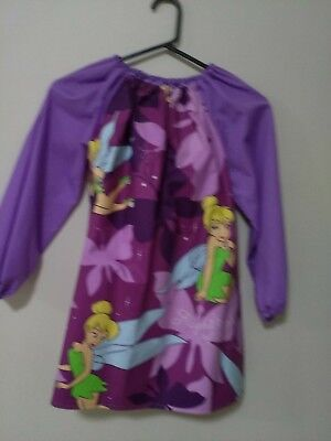 Handmade Tinkerbell  Kids GirlArt Smock 8-10 or 4-7 With Thermal Backing