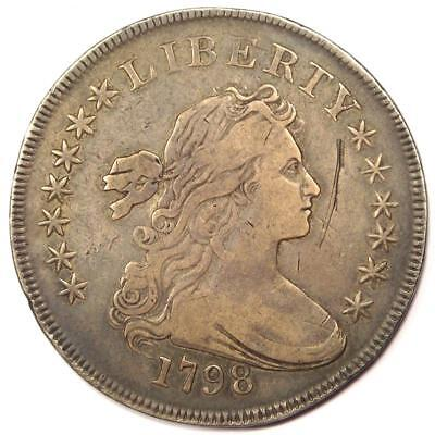 1798 Draped Bust Silver Dollar $1 - VF/XF Details - Rare Type Coin!