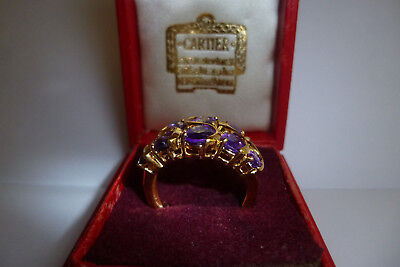 925 STERLING SILVER  14K GOLD PLATED 10 NATURAL PURPLE AMETHYST RING (N)  5.5g