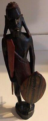 African Statue  Carved Ebony?  12' Warrior with Shield and Sword - Nicely Done