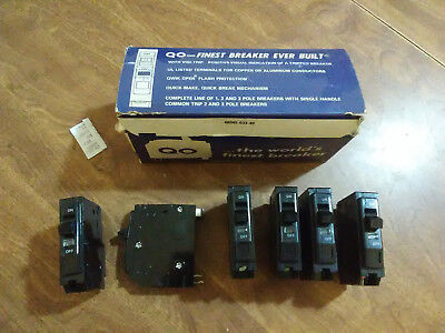 type QO breakers. 5x 15A & 1x 20Amp. new. Square D 120v. lot of 6 total.