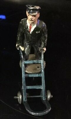 Vintage Lead Cast Iron Metal Working Man Worked Delivery Man Figure Figures