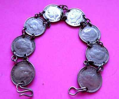 VINTAGE SILVER6 PENCE COIN BRACELET,kING GEORGE 5TH AND 6TH,DATES 1917 TO 1940