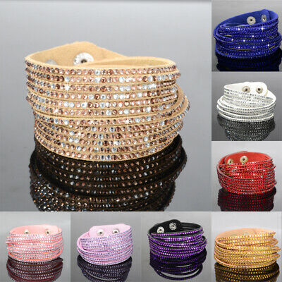 Multilayer Leather Wrap Wristband Cuff Punk Crystal Rhinestone Bracelet Bangle