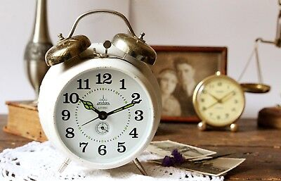 BELL CLOCK VINTAGE Alarm Clock Aradora Large Retro Clock White Wind Up Clock