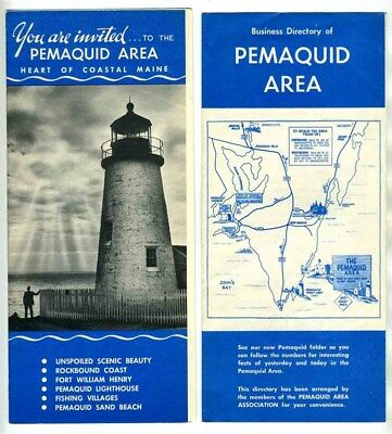 Pemaquid Maine Area Brochure & Business Directory 1950's