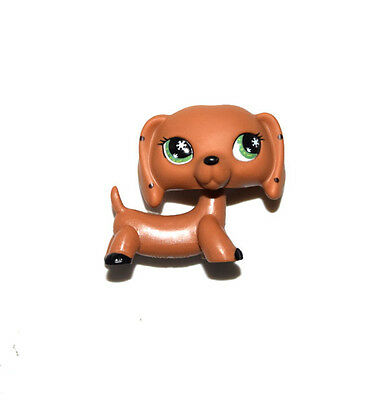 Littlest Pet Shop Green Eyes Dotted Ears Brown Dachshund Dog Figure Child Toy