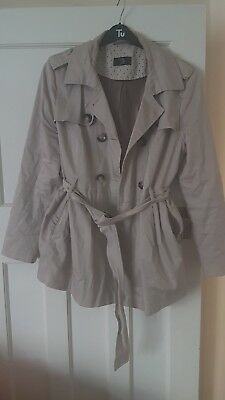 Mothercare M2B maternity beige trench coat jacket mac size 16 great condition