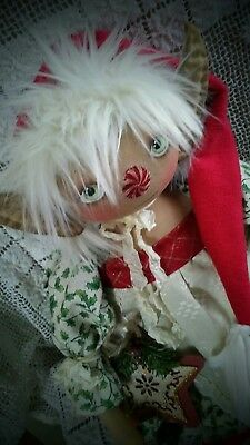 PriMitiVE FolK ArT OOAK ELF ChRiSTMas  Doll SheLF Si TTer HOliDay GiRl