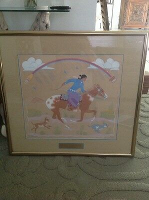 Harrison Begay Original Painting Navajo Woman Riding To Her Sheep Camp