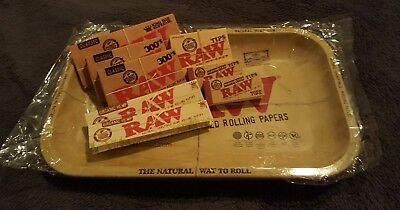 Raw Rollling Tray Bundle Kit - King Size Papers Wide Tips 11x7 Metal Tray
