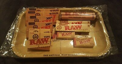 Raw Bundle Tray 11x7 + King Size Natural hemp Papers, Tips & Roller kit