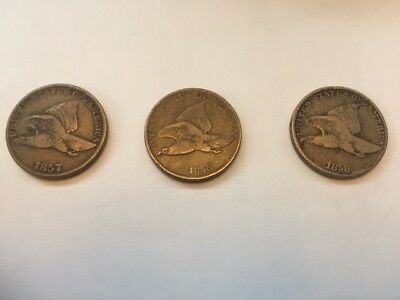 1857 & 1858 Flying Eagle Cent Lot of 3