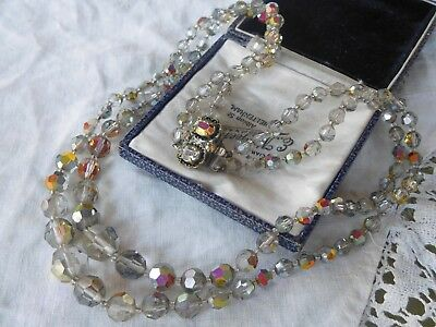 Vintage 1950s SMOKEY Grey Double Strand Aurora Borealis Crystal Necklace