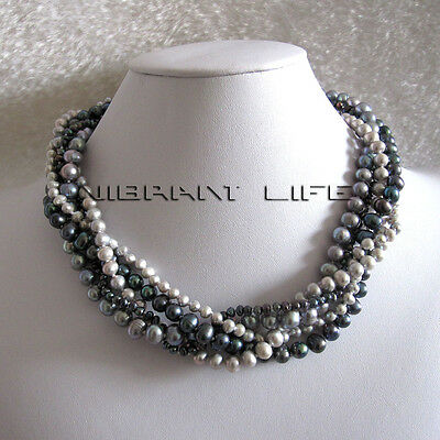 """18"""" 4-8mm 5Row Gray Peacock Freshwater Pearl Necklace UK"""