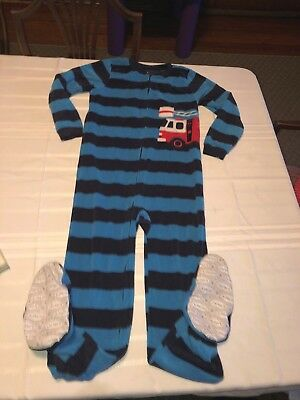 Carter's Boys Blue Striped Firetruck Fire Truck Footed Pajamas PJs Size 10