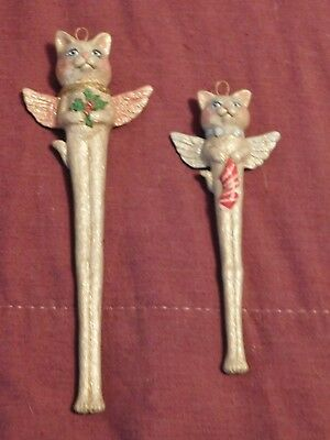 2 Ceramic Kitty Cat Angel Ornaments