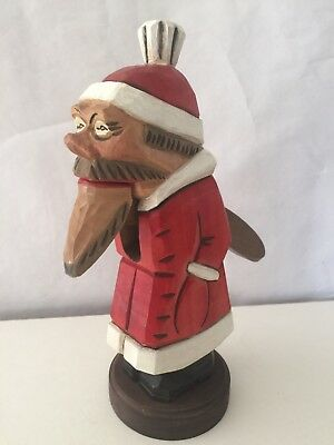 Vintage Wood Hand Carved Hand Painted Santa Nutcracker Unique & Rare Very Cool