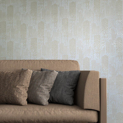 Non-Woven Wallpaper city mosaic graphic wall coverings textured roll beige white