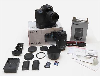 ONLY 265 Clicks-Canon 80D 24.2 MP+ Grip + 18-55mm IS+ 55-250mm IS+ EXTRA- Exc++