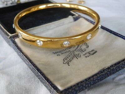 Stunning Vintage 1980s Gold Crystal Bangle signed MONET